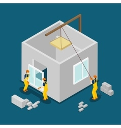 Building Construction Workers Isometric Banner vector image