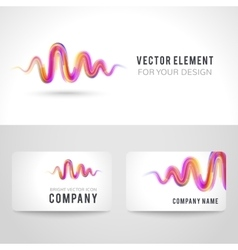 Business card template set abstract pink wave vector image