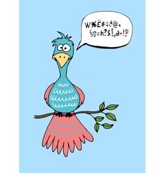 Cute cartoon bird with a speech bubble vector image