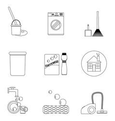 Laundry and cleaning house icon set line vector