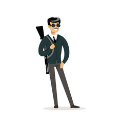 mafia man character in sunglasses with a gun on vector image vector image