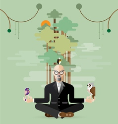 old business man making yoga in nature vector image vector image