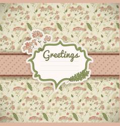 vintage flowers card vector image vector image