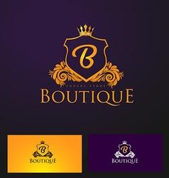 Elegant luxury badge logo luxury crown logo vector