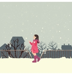 girls wearing jacket in snow enjoy cold weather vector image