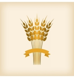 Golden sheaf of wheat with ribbon vector image