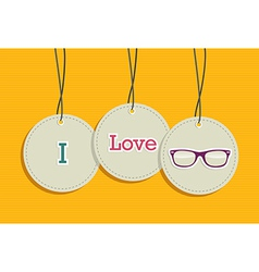 Hanging i love hipsters badges vector image vector image