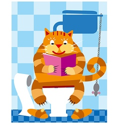 cat on toilet vector image vector image