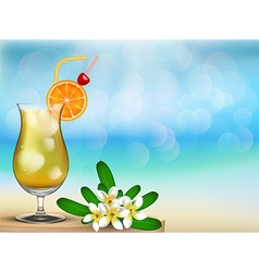 Drink juice with floral on the table vector image vector image