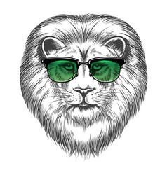 hipster lion in sunglassesprint design vector image vector image