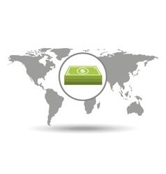 map world business stack bills design vector image