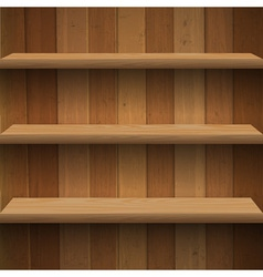 Wooden shelves vector