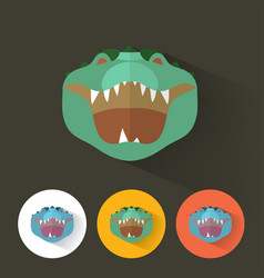 crocodile portrait with flat design vector image vector image