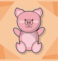 cute piggy baby animal cartoon image vector image