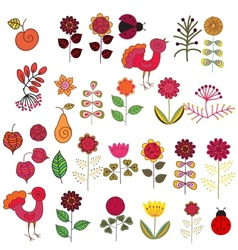 Fruits flowers and birds set vector image vector image