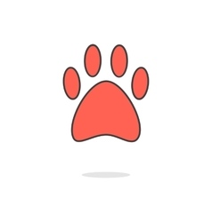 simple red paw icon with shadow vector image