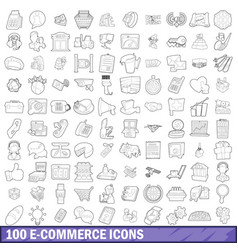 100 ecommerce icons set outline style vector