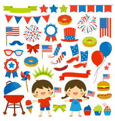 4th july clip art set vector