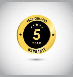 5 year warranty template design vector