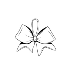 a bow ribbon gift in vintage woodcut engraved vector image
