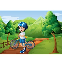 A boy standing in middle pathway vector
