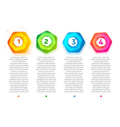 Abstract steps colorful hexagon frame with vector