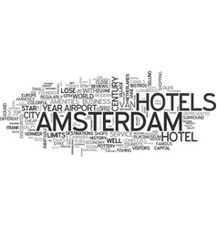 amsterdam hostels text word cloud concept vector image