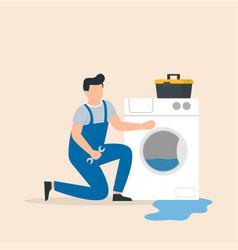 Appliance repair expert repairs washing vector