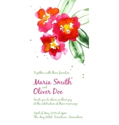 background with red watercolor camellias vector image