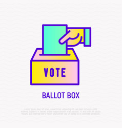 ballot box hand puts envelope with vote in box vector image