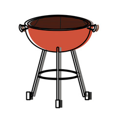 bbq grill front view watercolor silhouette vector image