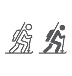 biathlon line and glyph icon sport and winter vector image