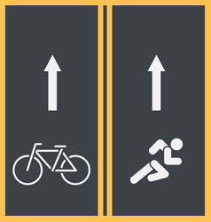 Bike path and bicycle symbol on asphalt vector