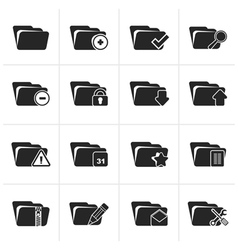 Black Different kind of folder icons vector image