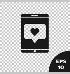 Black mobile phone and like with heart icon vector