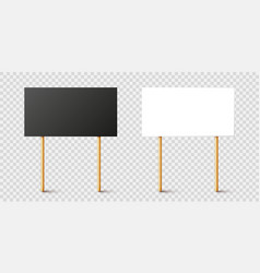 Blank black and white protest signs with wooden vector