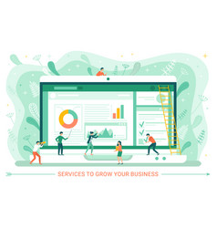 Business and worker monitor laptop web vector