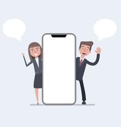 businessman and businesswomen talking beside smart vector image