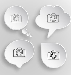 Camera White flat buttons on gray background vector image