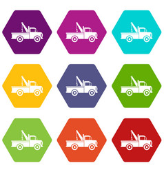 car towing truck icon set color hexahedron vector image