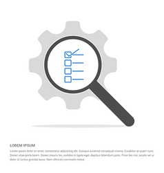check list ok icon search glass with gear symbol vector image