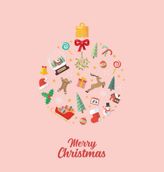christmas elements laid out in shape a vector image