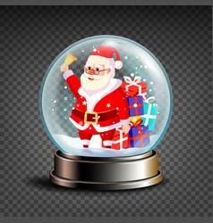 christmas snowglobe santa claus ringing vector image