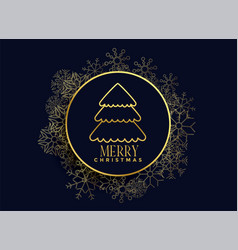 christmas tree on snowflakes frame background vector image