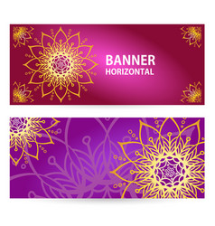 Colored horizontal banners with oriental motifs vector