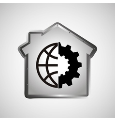 computer data protection world gear vector image