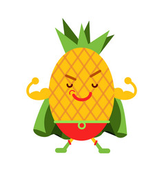 Cute cartoon smiling pineapple superhero in mask vector