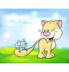 Cute cat play with mouse on green meadow vector