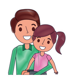 cute dad holding her little daughter vector image