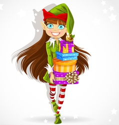 Cute girl the New Years elf gives gifts vector image